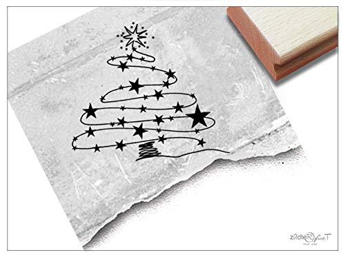 Stempel Weihnachtsstempel WEIHNACHTSBAUM aus Sternen - Eleganter Bildstempel Weihnachten Karten Geschenkanhänger Geschenk Deko - zAcheR-fineT