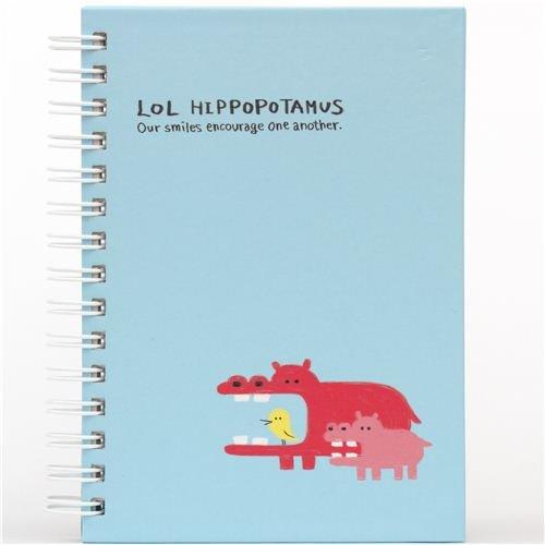 Libreta anillas azul animal gracioso hipopótamo de Japón