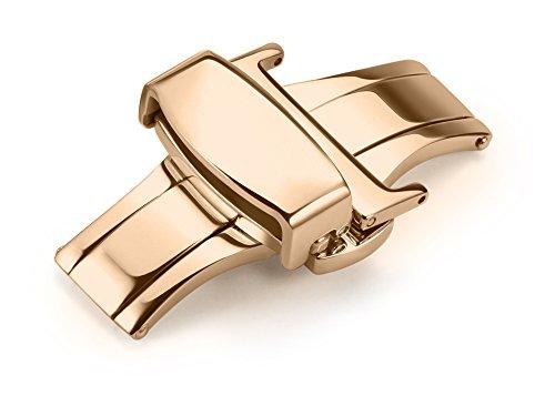 iStrap 10mm 12mm 14mm 16mm 18mm 20mm 22mm Edelstahl Faltschliesse Dornschließe Schließen Schnalle Klapp-Verschluss für Uhrenarmbänder Uhrband