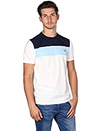 Fred Perry M2544 Colour Block Panel T-Shirt Snow White