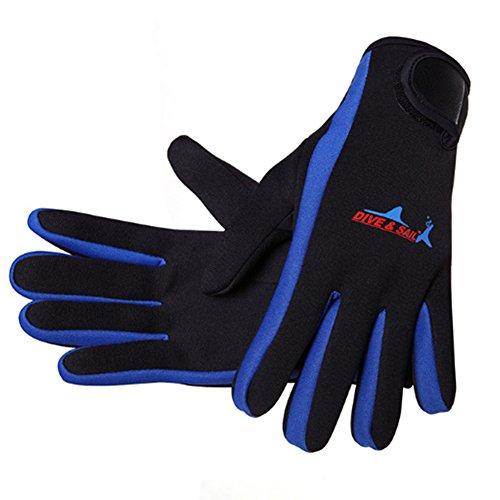 NaiCasy Wetsuits 1,5mm Premium Guantes de Neopreno Buceo Cinco Dedos Guante Azul L Tamaño de 1Pieza