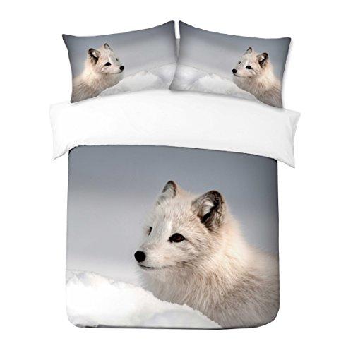 Adam Home 3D Digital Printing Bett Leinen Bettwäsche-Set Bettbezug + 2x Kissenbezug - White Wolf (Alle Größen)