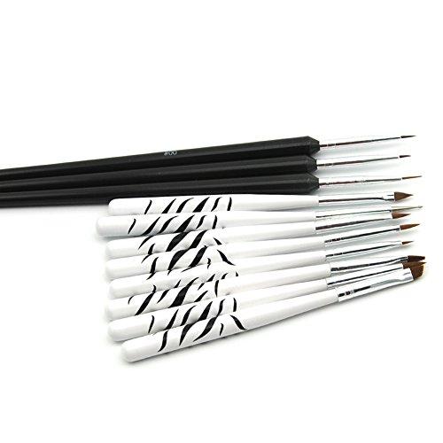 Mode Galerie8pcs Brosses à Ongles Blanc& 3pcs Dessiner Pinceaux Dotting Stylo