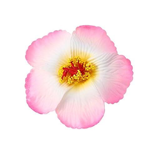 Tinksky Hibiscus Flowers Fleurs hawaïennes Fleurs artificielles pour la décoration de table Favors Favors Fournitures Mariage Luau Hawaii Décoration de fête 1 pcs (double rose)