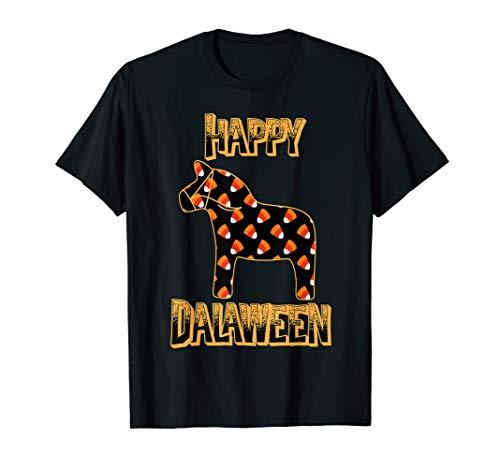 Happy Dalaween Funny Swedish Dala Horse Halloween T-Shirt