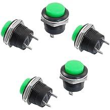 Interruptor de boton pulsador - SODIAL(R) 5 x Interruptor de boton pulsador de tapa redonda verde SPST NO momentaneo AC 250V/3A
