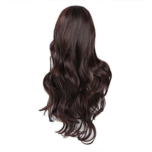 SODIAL(R) Bonne Qualite Cheveux Humains Magnifique Dames Longue Ondulee Frise Complete Perruque - Brun Fonce