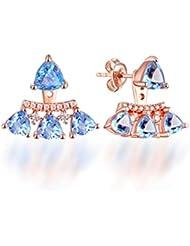 00a3e94c6303 YOYOYAYA 925 Aretes De Plata Mujeres Niñas Adornos Simple Aretes Partes  Fechas Colgantes Antiallergies Cristales Topacio