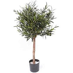 Olivenbäumchen 75cm hoch, 1040 Blätter, 24 Oliven - künstlicher Olivenbaum