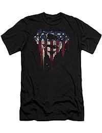 Superman Iconic DC Comics Character Bleeding Flag Shield Adult Slim T-Shirt Tee