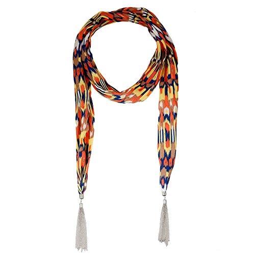Lureme® stile bohemien vendemmia metallo nappe tono rodio con la stampa del modello di colore multi collana della sciarpa (01003180-2) arancione - Multi Orecchini A Cristallo Di Colore