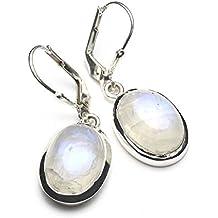 Mystic Silver - Preciosos Pendientes - Piedra natural de Piedra de luna Alta Calidad, Plata de ley 925. 35mm 7g