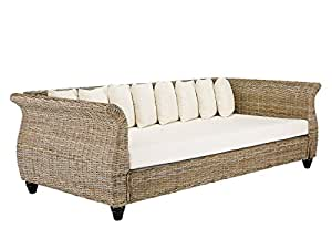 massivum schlaf sofa lunga 230x75x110 cm aus kubu rattan grau lackiert mit kissen liegefl che. Black Bedroom Furniture Sets. Home Design Ideas