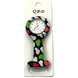 QBD Clip Series-Nurses Glowing Hands Red Cross Patterned Silicon Rubber Fob Watch - Black Heart 31