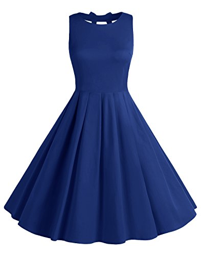 BeryLove Frauen Vintag 50s Polka Dot Bowknot Retro Swing Cocktailparty Kleid BLV8001 RoyalBlue (Polka 50er Jahre Dot)