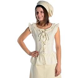 HEMAD Blusa de mujer medieval - Encaje delantero y trasero - Algodón puro – L Beige