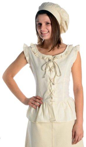 HEMAD Damen Bluse Mittelalter Schnürbluse ärmellos naturbeige XL (Für Frauen Renaissance-kleidung)