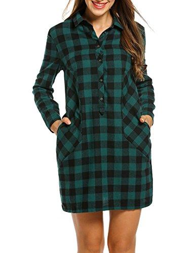 ANGVNS Damen Kleid Hemdkleid Blusenkleid Jumper Kariert Langarm mit Hemdkragen aus Baumwolle Grünn XL