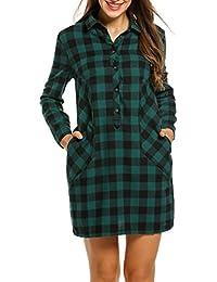 ANGVNS Damen Kariertes Hemdkleid Casual Kleid mit Umlegekragen Langarm 331c121bed