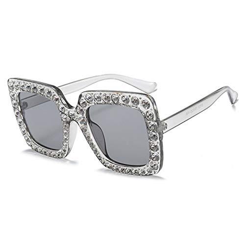 YLNJYJ Oversized Diamond Square Sexy Luxury Women Sunglasses Mirror Gradient Pink Black Crystal Cat Eye Oculos