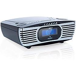 auna Dreamee Radio-réveil Dab+ avec Lecteur CD • Radio rétro Dab+ • Radio numérique • Tuner FM • Réveil • Alarme Double • Snooze • AUX • Port USB • Noir