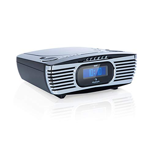 auna Dreamee DAB+ Radiowecker mit CD-Player • Retro DAB+ Radio • Digital-Radio • UKW Tuner • Weckfunktionen • Dual-Alarm • Schlummerfunktion • Sleep-Timer • CD-R/RW/MP3 • AUX • USB-Ladeport • schwarz