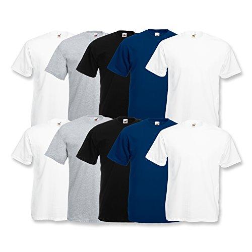 Fruit of the Loom 10 Shirts Valueweight T Rundhals S M L XL XXL 3XL 4XL 5XL Übergröße Diverse Farbsets Auswählbar (L, 4 Weiß/2 Navy/2 Grau/2 Schwarz)