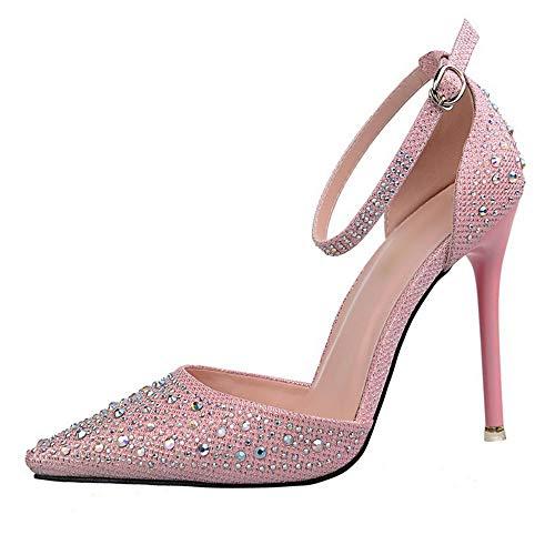 Nalkusxi Frauen Shiny Strass Stiletto High Heel Sandalen Süße Prinzessin Schuhe (Color : Pink, Size : 34) -