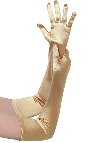 (BABEYOND Damen Handschuhe Satin Classic Opera Fest Party Audrey Hepburn Handschuhe 1920er Stil Handschuhe Elastisch Erwachsene Größe Ellenbogen bis Handgelenk Länge 52/55cm (Lang Glatt 52cm/Gold))