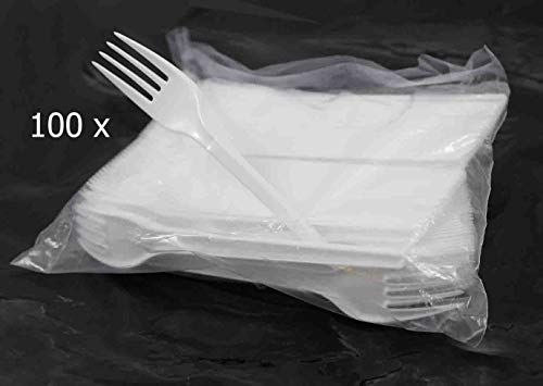 100 x White Plastic Party Pack Dessert Forks Cutlery Disposable Kitchen BBQ Outdoor