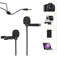 COMICA CVM-D02 Dual-Head Lavalier Lapel Microphone Omnidirectional Condenser Clip on Interview Youtube Mini Microphone for Smartphone Iphone Canon Sony Panasonic DSLR Camera GoPro 3,4,5(Black,236inch)