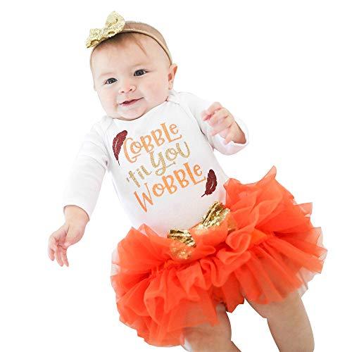 YEARNLY Neugeborenen Baby Mädchen Brief Strampler Tops + Tutu Röcke Thanksgiving Outfits Set Weihnachten Thanksgiving Baby Langarm Buchstaben (Baby Thanksgiving Outfit)