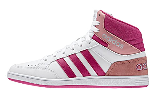 adidas Mädchen Vlneo Hoops Mid K Tennisschuhe, Blanco / Rosa / Plateado (Ftwbla / Rosfue / Plamat), 38 EU