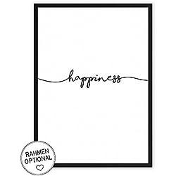 happiness - Kunstdruck auf wunderbarem Hahnemühle Papier DIN A4 -ohne Rahmen- schwarz-weißes Bild Poster zur Deko im Büro/Wohnung / als Geschenk Mitbringsel zum Geburtstag etc.