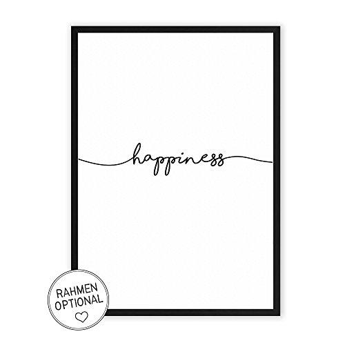 happiness - Kunstdruck auf wunderbarem Hahnemühle Papier DIN A4 -ohne Rahmen- schwarz-weißes Bild...