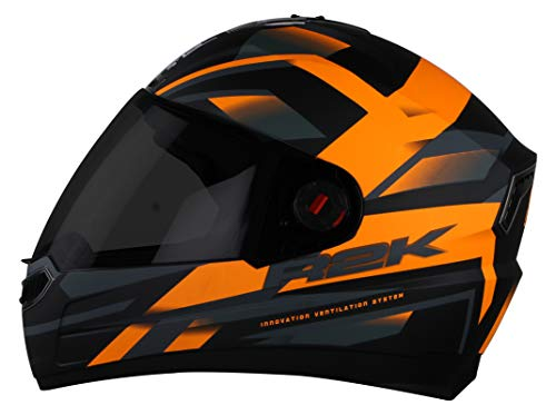Steelbird SBA-1 R2K Full Face Helmet with Smoke Visor (Matt Black and Orange, M)