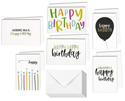 48sortiert Happy Birthday Karten einseitiger Druck Grußkarte Aufstellkarten in Postkarte Stil, Bulk Box Vielzahl Set enthält 6verschiedenen Designs mit Umschlägen, 10,2x 15,2cm