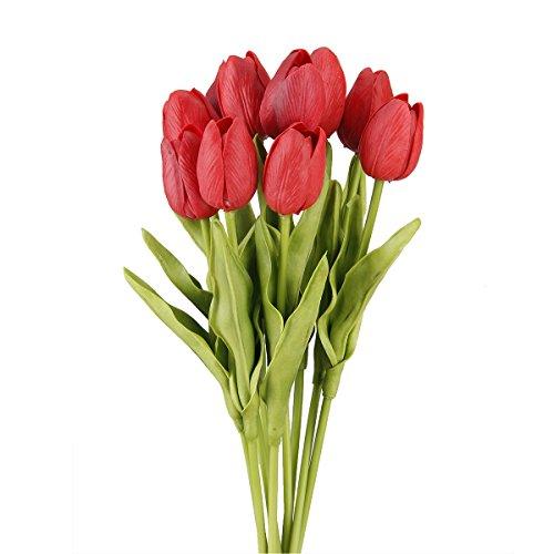 TININNA 10 pezzi artificiale lattice fiore del tulipano Nozze Mazzi per la casa Garden Decor Rosso
