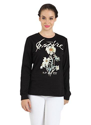 Bkind Women's Printed Black Sweatshirt