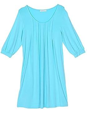 CHUNHUA Donne in maglia tagliate manica dimensione modale camicia da notte camicia da notte , blue , l (160/84a)