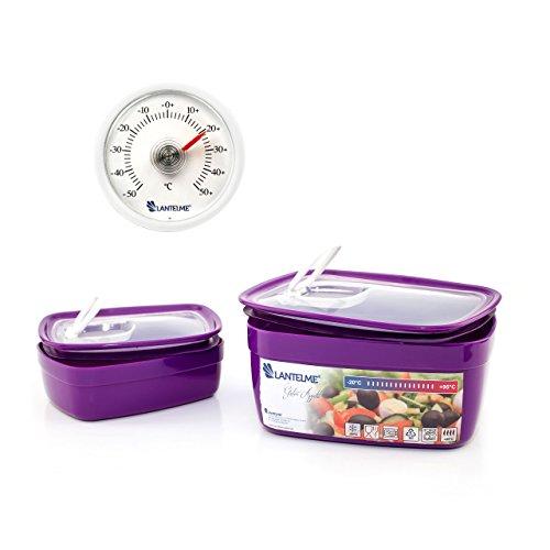 Lantelme 6437 Küchenhelferset mit Mikrowellenschüssel und Küchen Thermometer - Schüsselset Kunststoff Farbe lila und Analogthermometer Farbe weiß
