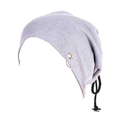 sunshineBoby WunderschöneTurban Hut Kopftuch Islam Wrap Cap Headwear Männer und Frauen Reine Farbe Lron Ring Stretch Turban Hut Hip-Hop Schal Haufen Hüte (Grau)
