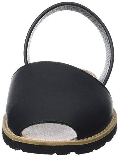 Minorquines Avarca, Scarpe Col Tacco con Cinturino a T Donna Nero (Negro)