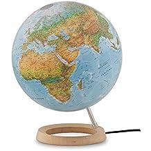 Tecnodidattica – Mappamondo Atmosphere FC2, girevole, luminoso, base in legno d'Acero, cartografia Fisico/Politica, diametro 30 cm