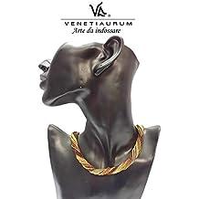 Venetiaurum - Collana multifili donna in vetro di Murano e argento 925 - Gioiello made in Italy certificato
