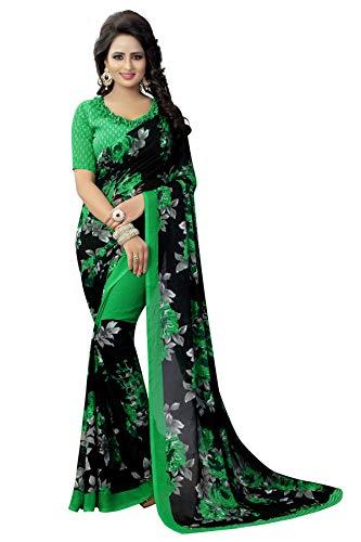 CRAFTSTRIBE Tradizionale Verde Saree Pakistano Nozze Georgette Bollywood Nuovo Sari Indiano