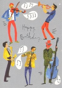 Jamming Musicians Happy Birthday Greetings Card