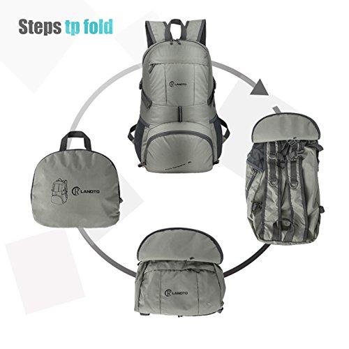 zomake leicht Rucksack, 35L Wandern wasserabweisend faltbar Rucksack Daypack für Shool Reise Camping outdoor Silver GreySilver Grey