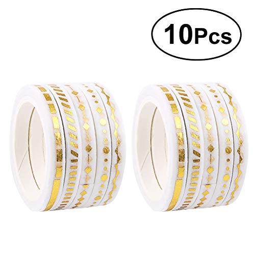 YEAHIBABY Gold Glitter Washi Tape Set Klebstoff Washi Masking dekorative Bänder für DIY Crafts und Scrapbooking, 10 Rollen - Gold Glitter Scrapbooking