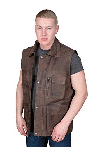 Landsleute Braun Leder Weste Multi Pockets Wandern Walking Jäger Gilet- Boyles (XXL - EU 54) (Leder-walking-mantel)
